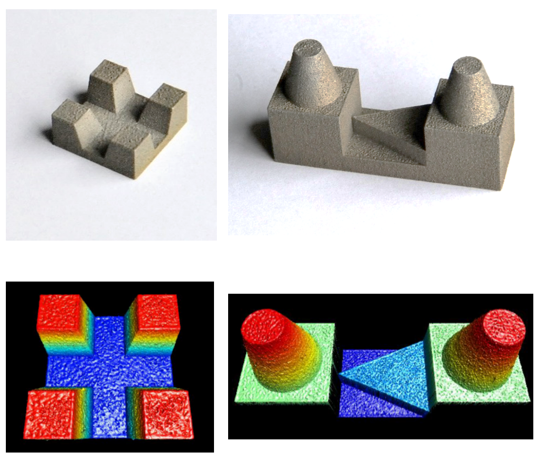 Figure 4 – Calibrated restorative dentistry standards (ISO12836) with ultra high resolution 3D data. An inlay cavity (left) and crown bridge (middle) and calibration data sheet (right). Measurements are created with a TaiCaan XYris 2020 H surface profiler and the supplied data models comprise over 2 million data points with XYZ positional accuracy of 100 nm (0.1 um) for each point in the measurement.